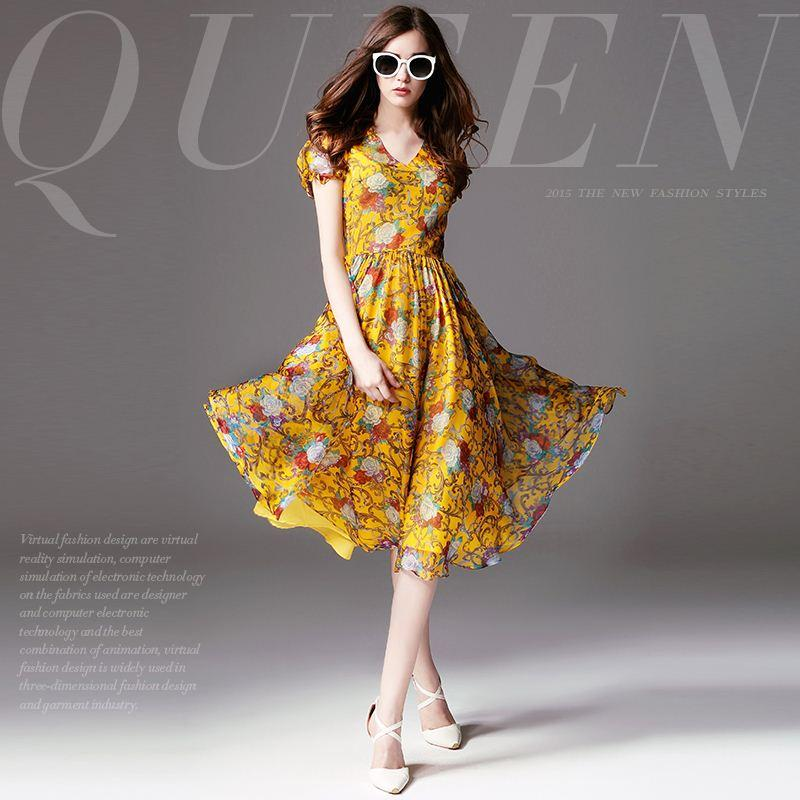 Simple Elegant 2015 Women Summer Wedding Dresses Flowing: 2019 2015 Summer New Collection High End Floral Printing