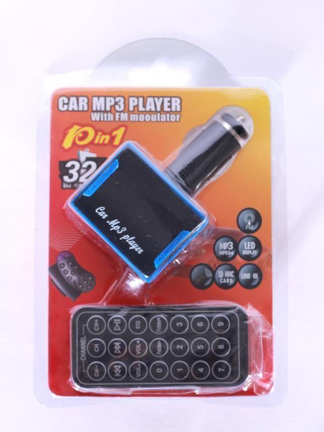 SG-S004 Mini-lecteur de voiture MP3 à écran multifonctions à écran LED avec prise en charge du modulateur FM avec télécommande noir et bleu