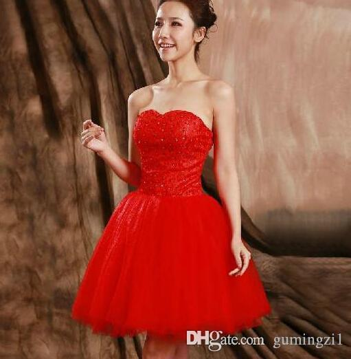 2015 red lace short evening dresses