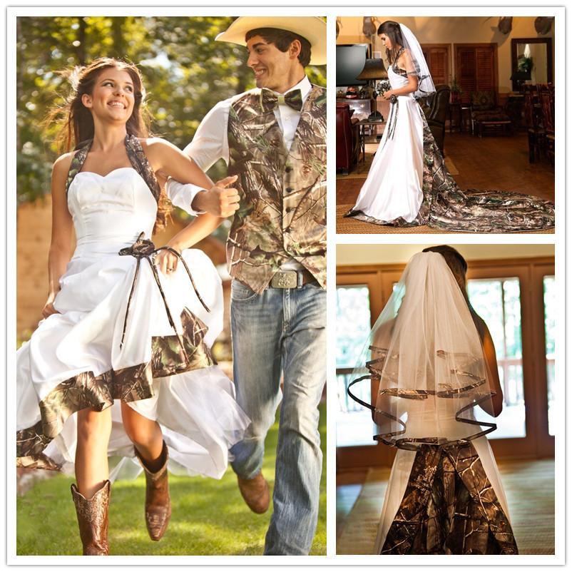 discount 2015 new style white camo wedding dress halter neck hand made flowers detachable train cheap wedding dresses made in china ld021 a line wedding