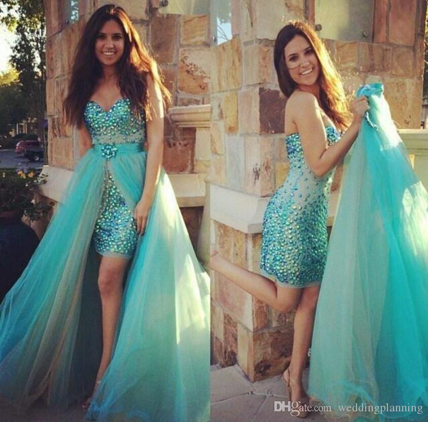 Gorgeous Sweetheart Strapless Prom Klänningar Sexig Sheath Backless Mint Chiffon Front Slip Crystals Long Mermaid Evening Dresses For Prom Dress