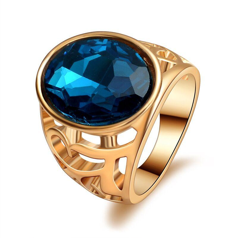 trendy Resin Imitation big Wide Surface rhombus Faceted Cabochon Oval blue Gem ring Hollow sapphire ring blue crystal rings for women j441