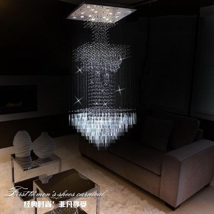 Duplex Living Room Crystal Chandelier Modern Brief K9 Hanging Light Led Hotel Villa Stair Ceiling White Orb