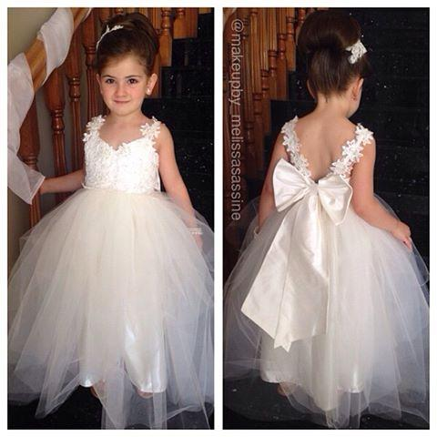 Vintage Spaghetti Flower Girls Dresses For Wedding Pure White Lace