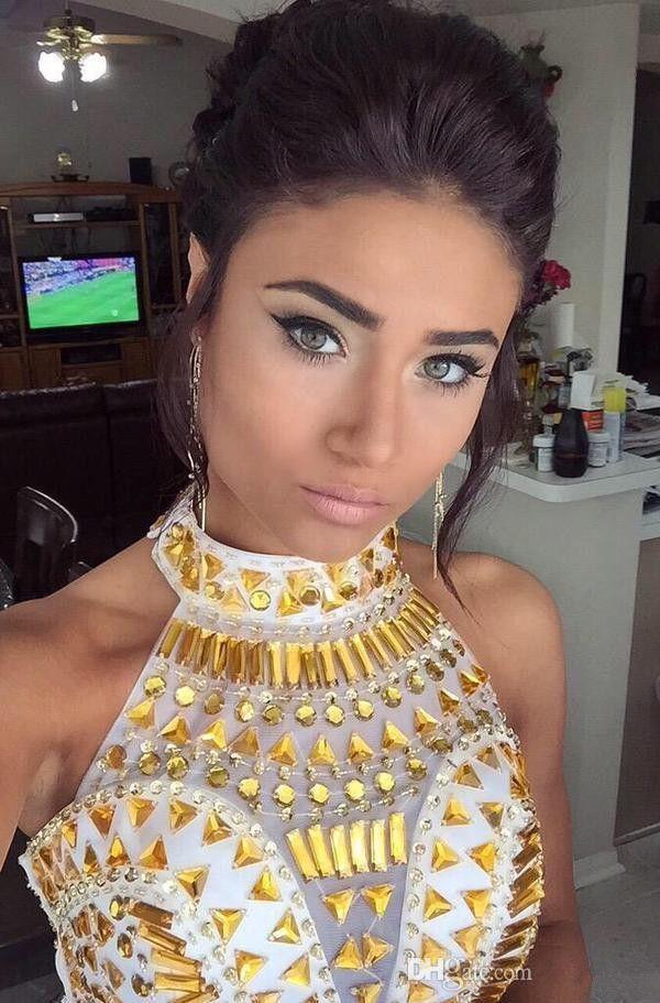 2019 Mulheres Duas Peças Vestidos de Baile De Alta Neck Grânulos De Ouro Branco Chiffon Fenda Oi Lo Vestido de Festa À Noite Desgaste Adolescentes Vestidos de Baile Baratos