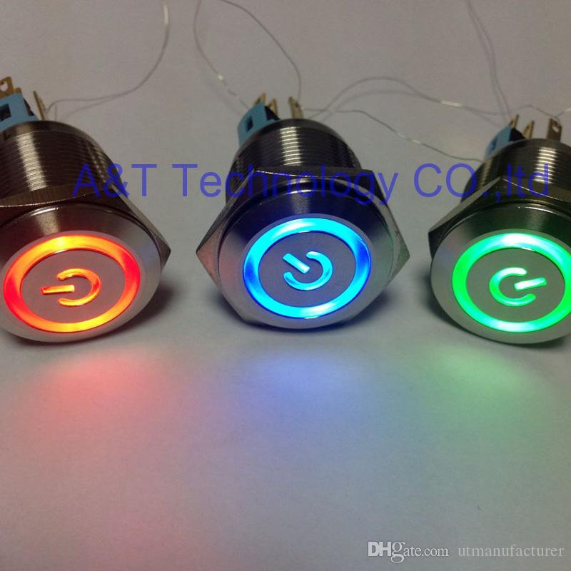 22mm Metal Waterproof IP67 latching on off Push Button Switch 12V 24V illuminated for Car Boat Doorbell PC Power Sign Momentary Start Switch