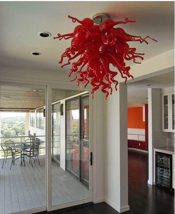 Düşük Maliyetli Kırmızı Cam Avize Abajur Modern Sanat Cam Kolye Işık Saf El Yapımı Cam Avize ile LED Ampüller Üflemeli