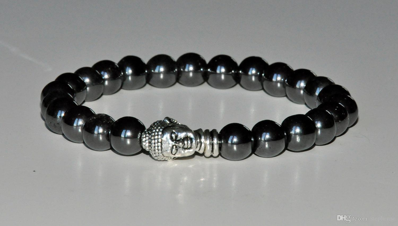 SN0273 2015 Melhor Venda Pulseira Buddha pulseira preta pulseira de pedras diamantadas pulseira da moda artesanal do homem Frete Grátis