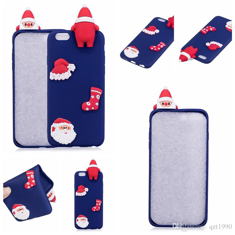 Lovely Christmas 3D Babbo Natale PaPa Phone Case iPhone 5c Luminoso Soft Christmas Custodie Galaxy S4