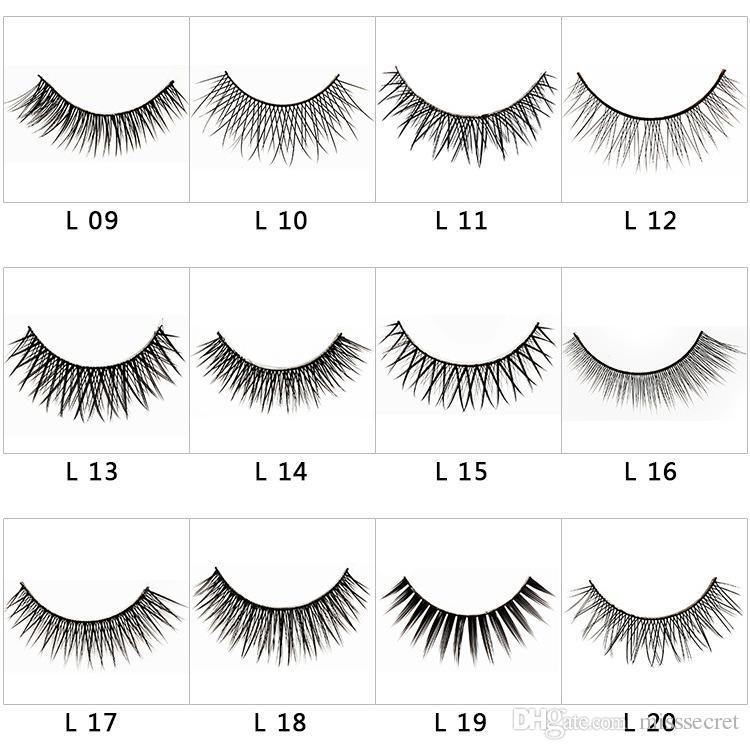 20 Styles False Eye Lashes 3D Nature Eyelashes Cross Thick False Eyelashes Extension /box Eye Makeup Handmade Fake Eyelashes DHL Free