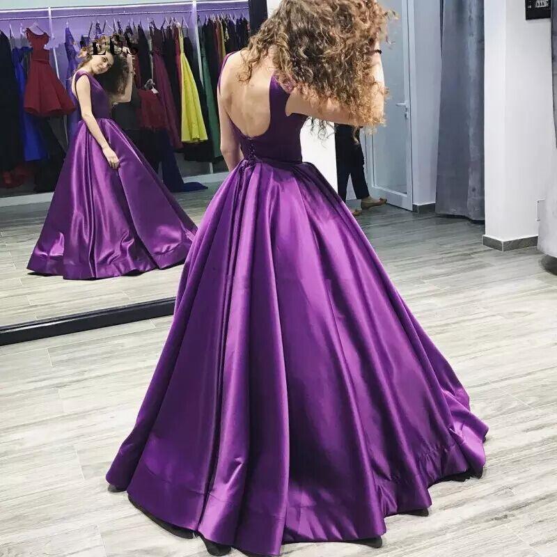Compre 2018 Elegante Satén Púrpura Vestidos De Baile Sin Respaldo ...