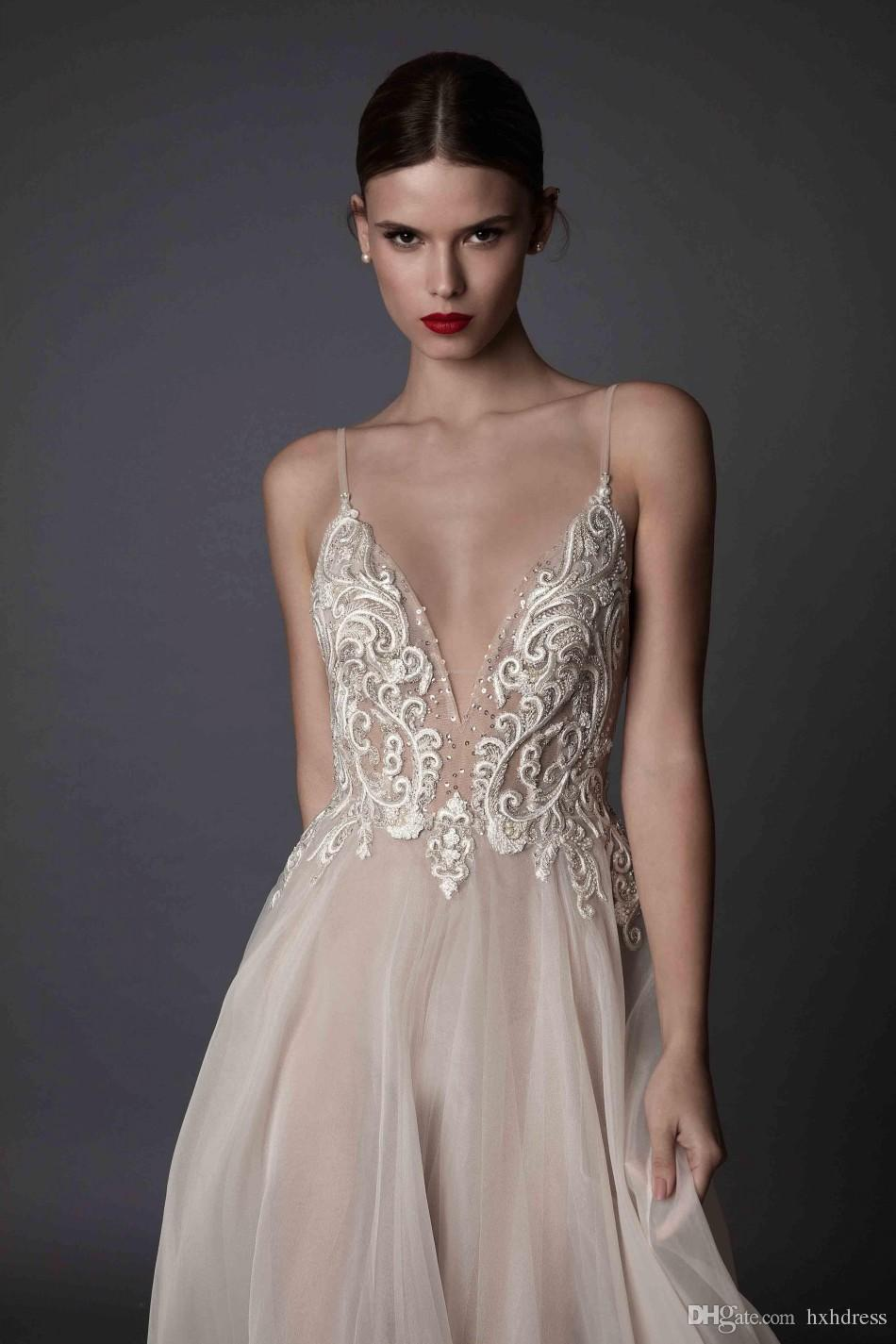 2018 New Deep V Neck Spaghetti Straps Embroidered Chiffon Backless Summer Illusion Long Prom Dresses Ivory Berta Evening Dresses 235