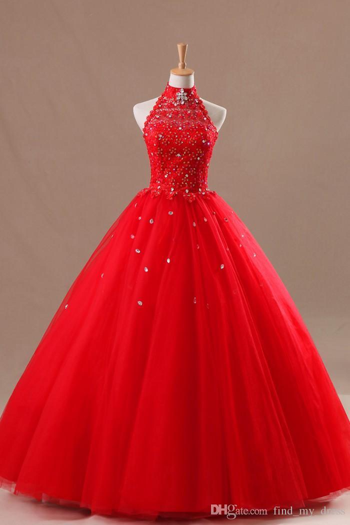 Nowy Bling Real Image Red Wedding Suknie Halter Kryształy Neck Kryształy Zroszony Tulle Suknia Balowa Długość podłogi Lace Up Powrót Suknie Bridal Custom Made Custom