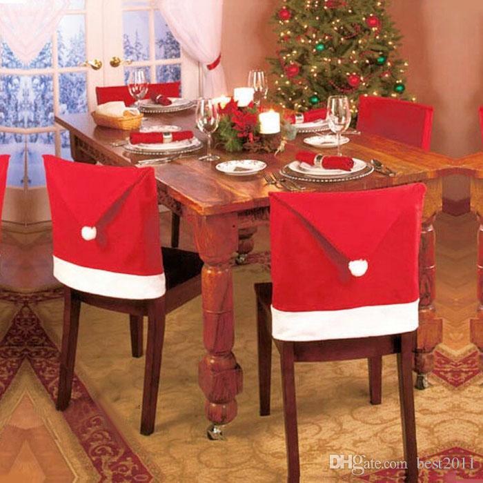 Weihnachtsdeko Stuhl.2015 In Santa Red Hat Stuhlhussen Weihnachtsdeko Esszimmer Stuhl Weihnachten Cap Sets Für Die Weihnachtsfeier