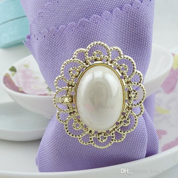 Luxury Gold Metal Big White Pearl Flower Stili Anelli di tovagliolo Napkin Fibbia ricevimento di nozze Decorazioni da tavola feste Forniture