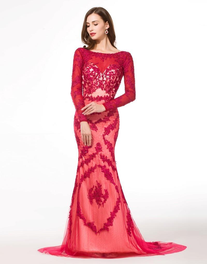 Abiti da sera musulmani a maniche lunghe Formales Abendkleid Aperto Indietro Applique di colore rosso Immagini reali Abiti da sirena di lusso Traje De Gala