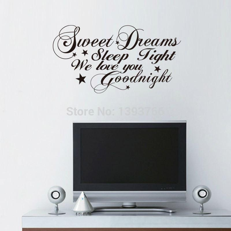 Romantic Bedroom Wall Decals good night sweet dreams romantic bedroom wall stickers living room