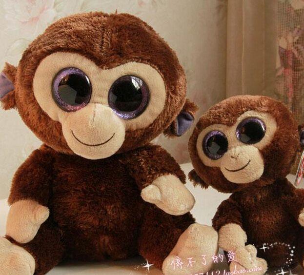 TY Big Eyes Plush Toys Monkey Doll 25cm And 15cm /stuffed Animal ...