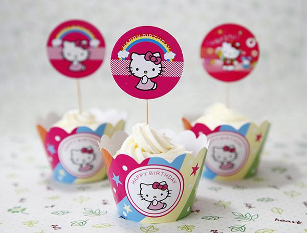 Hello Kitty Cupcake Wrappers Decoration Birthday Party Favors For