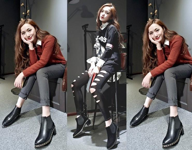 runway~ b056 34 genuine leather chain low heel short boots