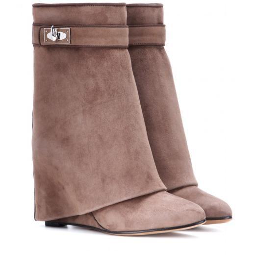 2018 Shark Lock Folder Mid Calf Mujer Botas de cuña que aumentan de altura zapatos de tacón alto Zapatos de alta calidad Martin Layer Boots mujeres