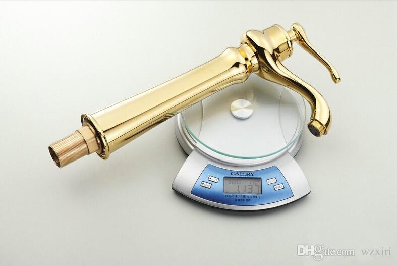 Frete grátis moda europeia mãos para torneira de ouro misturador da bacia banhado a ouro torneira da bacia de cobre quente e fria torneira G1020