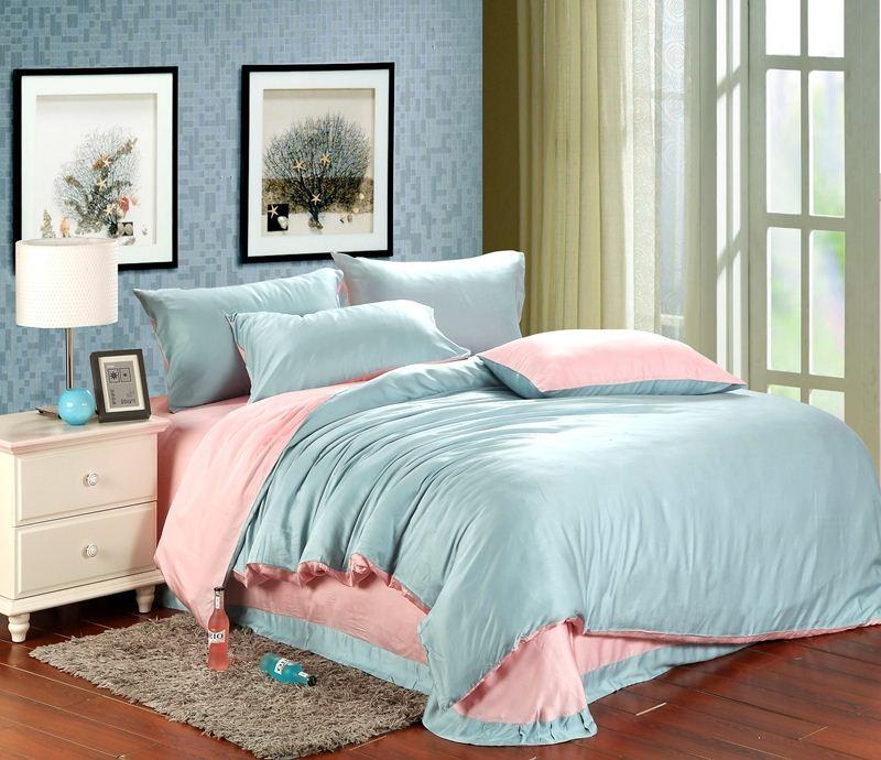 luxury pink blue bedding set sheets queen duvet cover king size double bed in a bag linen quilt. Black Bedroom Furniture Sets. Home Design Ideas