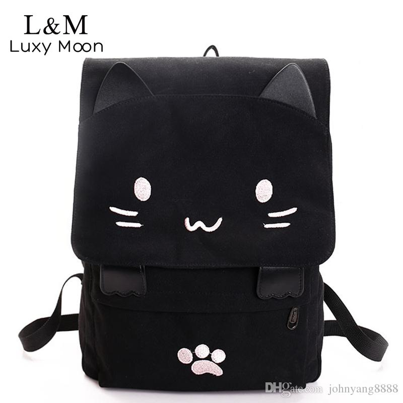 15923e00056 Cute Cat Canvas Backpack Cartoon Embroidery Backpacks For Teenage ...