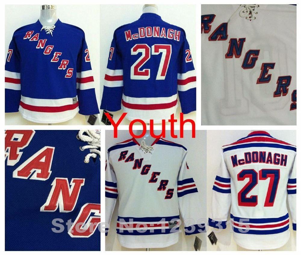 wholesale dealer ef528 cd9f5 youth kids nhl jerseys new york rangers 27 ryan mcdonagh ...