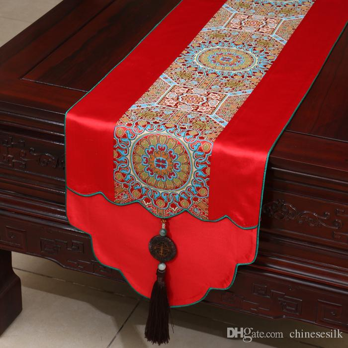 New patchwork jade table runners dining table pads chinese style luxury real silk brocade coffee table cloth for festive banquet decoration latest table