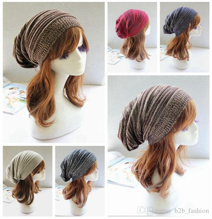 Winter Wrinkle Knitted Crochet Baggy Hat Beanie Cap Winter Warm Street Hip Hop Caps Stripe Beanies Skullies Hats OOA3438