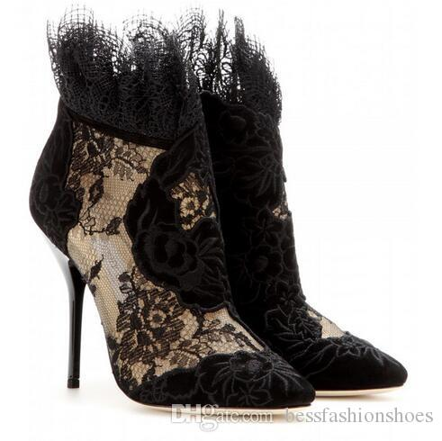 Sexy Negro Adornado Floral Encaje Mujeres Botines Tobillo Punta estrecha Corta hacia fuera Alto talón Gladiador Primavera Otoño Botas Zapatos Vestido de mujer Bombas