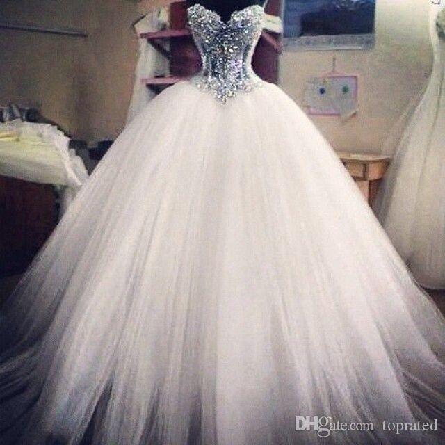 2019 de bola del vestido de boda de los vestidos de novia del corsé ver a través de la longitud del piso de la princesa de los vestidos de novia de encaje con cuentas perlas por encargo