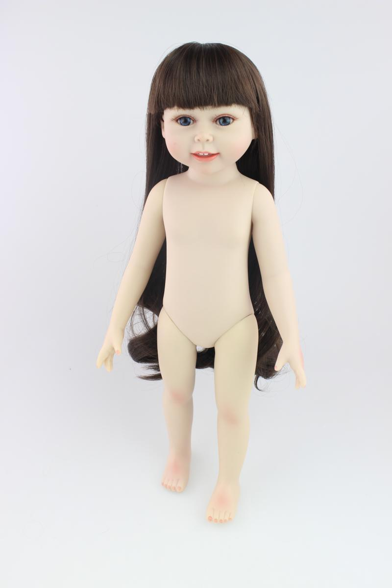 "Models 18"" Dark Brown Hair 45cm Girl Doll Realistic Baby Toys Birthday Gift for Girls As American Girl Dolls"