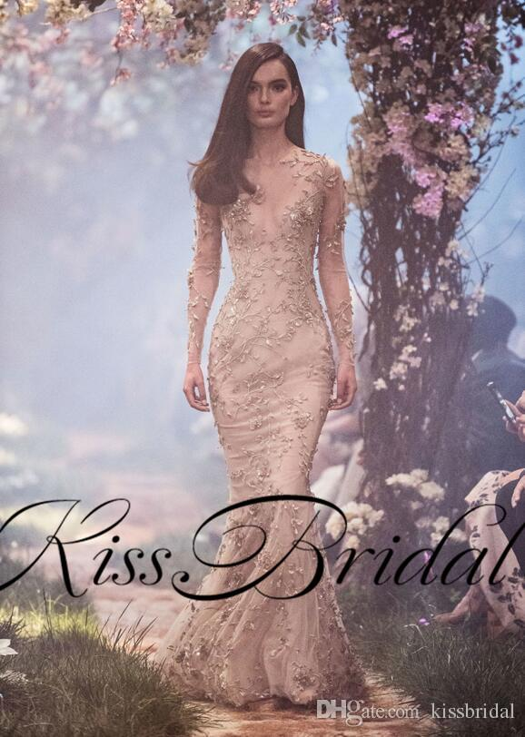 Paolo Sebastian Lace Evening Dresses Luxury Mermaid Long Sleeves Formal Prom Gowns Long Sleeves Nude Beading Ball Gowns