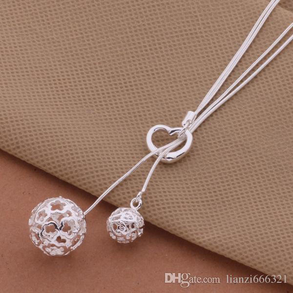 Gratis verzending met tracking nummer beste meest hot verkopen vrouwen delicate geschenk sieraden 925 zilver 2 bal ketting