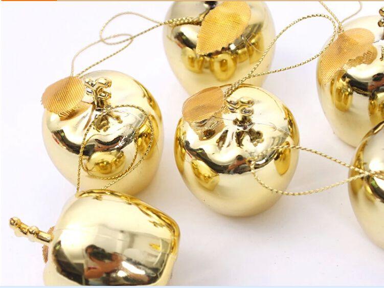 Plastic foam apple shiny xmas pendant ornament 5cm,4CM red and gold color,christmas home decorations wholesale,ornament factory