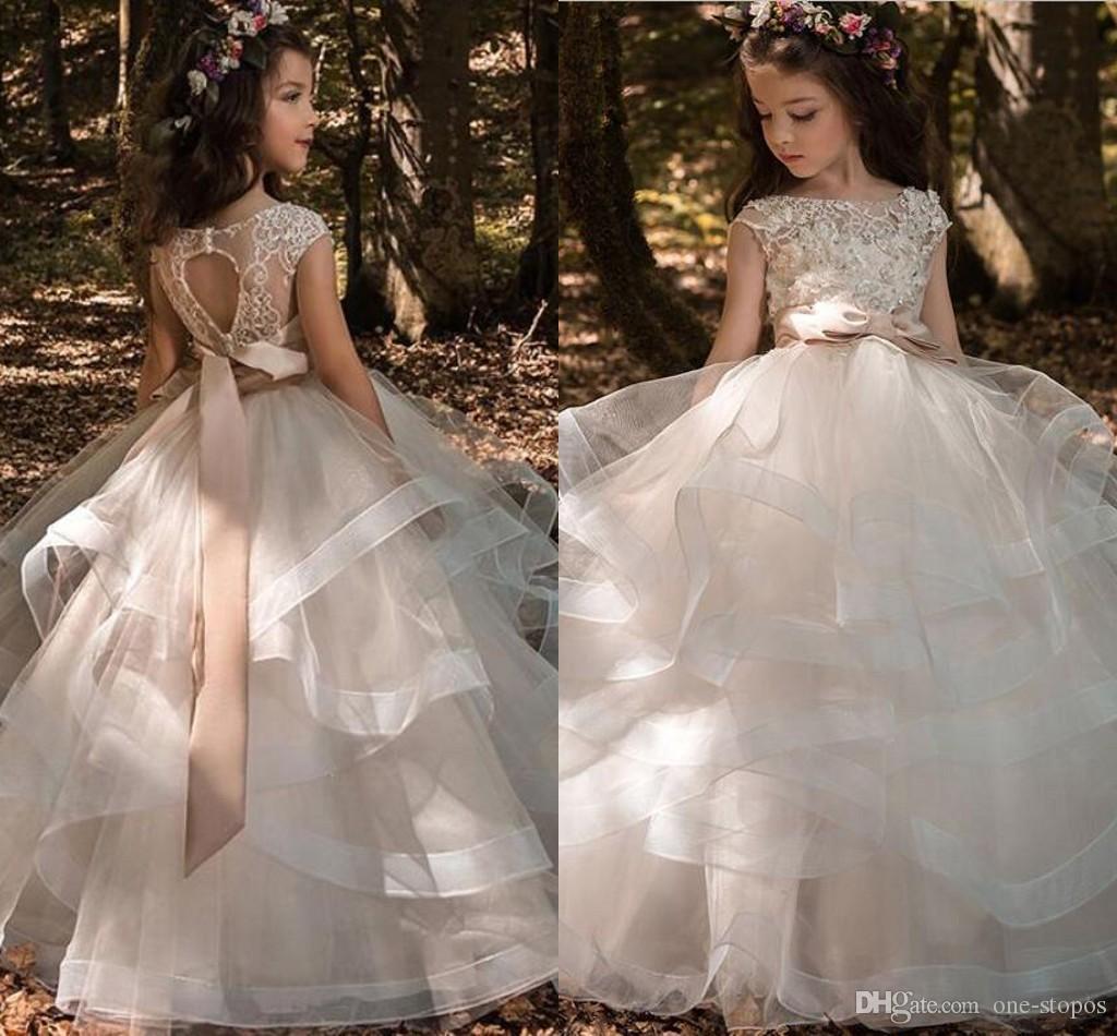 d866e74615e Tiered Ruffles Tulle Ball Gowns Girls Pageant Dresses Bow Floor Length Flower  Girl Dress Lace Beaded Bateau Cap Sleeves Kids Wedding Dresses Little Girl  ...