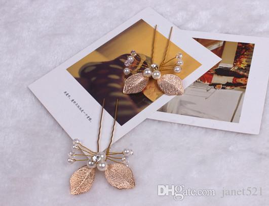 رومانسي حزب الشعر دبوس الذهب ورقة الزفاف قطعة الشعر قطعة الرأس قطعة اللؤلؤ + سبائك الذهب اللون