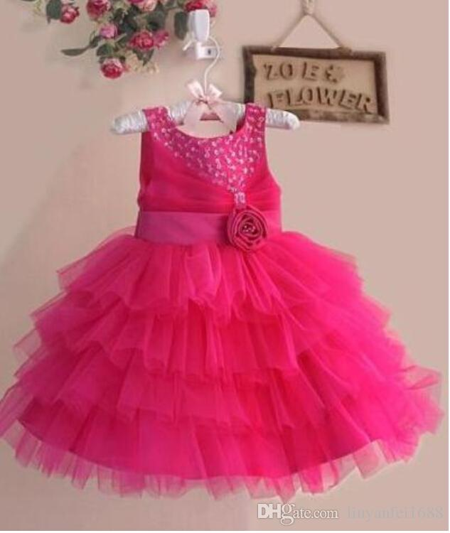 Simple Flower Girls' Dresses Beaded Hand Made Flower Rhinestone Jewel Ball Gown Sleeveless Ankel-Length
