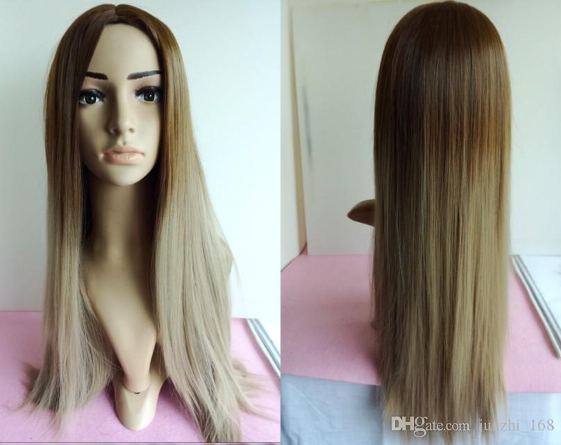 Silk Straight Gray Synthetic Wig Glueless Ombre Tone Color ...