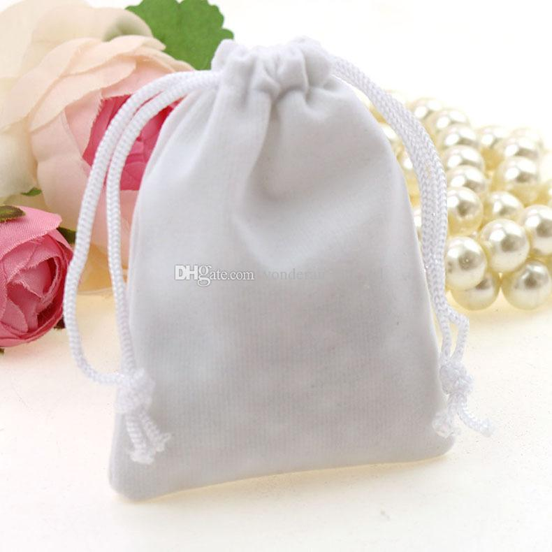 White Velvet Drawstring bag Gift bags Flocked phone bag Jewelry Pouches velvet drawstring bag