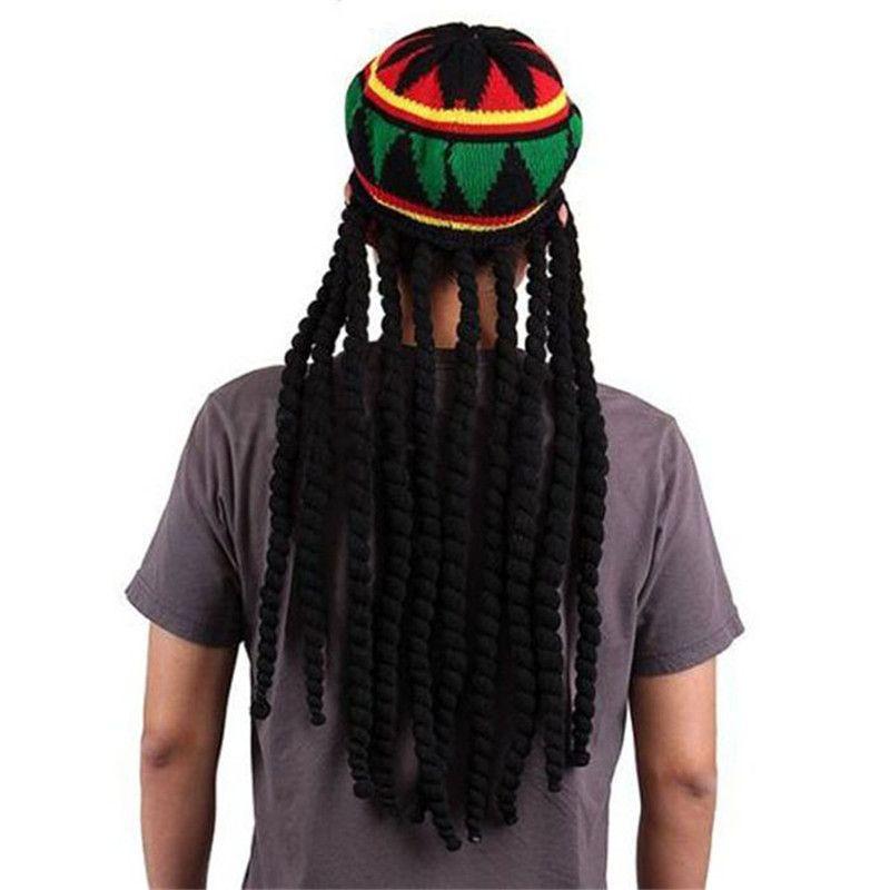Acheter Nouveauté Adulte Hommes Jamaïquain Rasta Chapeau Drôle Tricoté Bonnets Perruque Bob ...