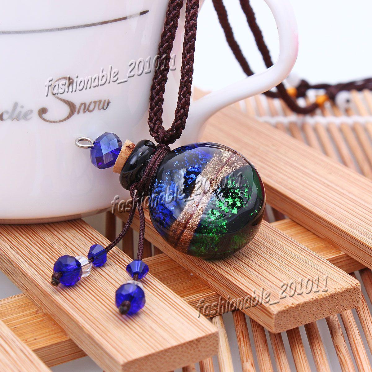 Round Glass essential oil diffuser necklaces flowers vial pendant necklace aromatherapy pendant vintage perfume bottle pendant necklaces OB8