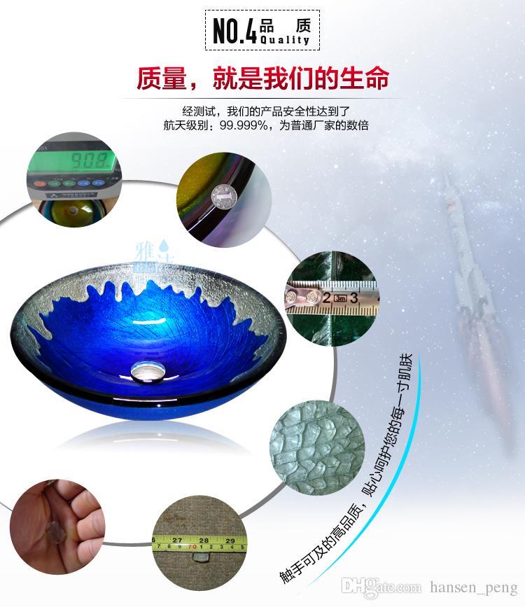 Bathroom tempered glass sink handcraft counter top round basin wash basins cloakroom shampoo vessel bowl HX009