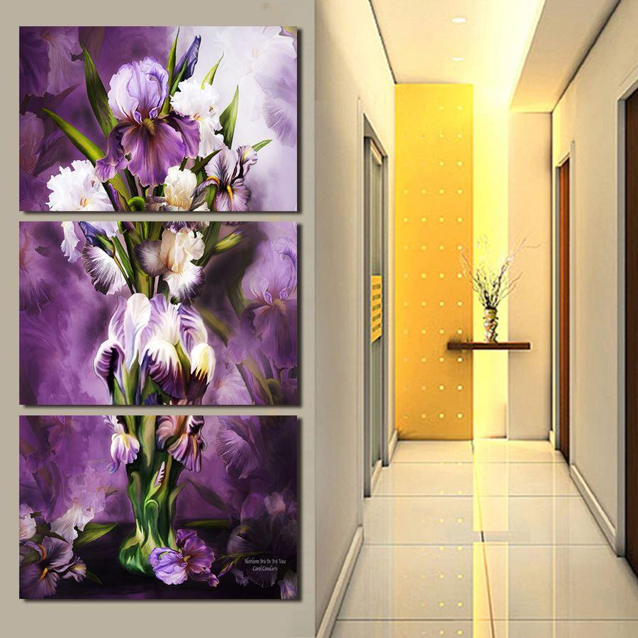 Free Shipping Canvas Prints 4 Panels Modern Wall Painting Beautiful Purple Flowers Picture Home Decorative Art Picture Painting