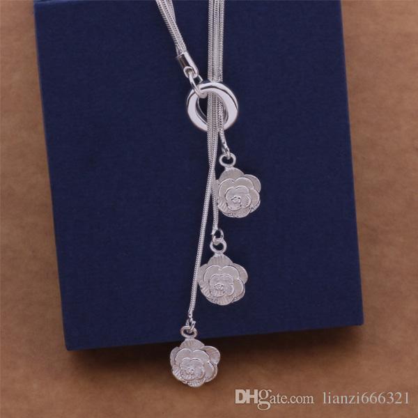 Envío Gratis con número de seguimiento Mejor Más Venta Caliente Delicado Regalo de Las Mujeres Joyería 925 Cadena de 3 capas de plata 3 Collar Rosa