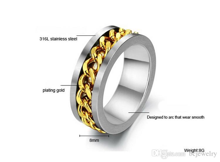 BC Jewelry Fashion Spinner Chain Ring para hombres Gold Black Silver Stainless Steel Chain Chain Wholesale Mens Jewelry BC-0069