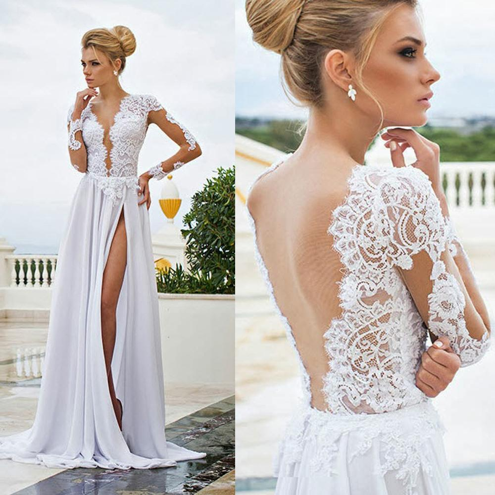 Discount Cheap White Backless Wedding Dresses Sheer Appliqued Plunging Neckline Long Sleeve Bridal Dress Floor Length Chiffon Split Gowns Princess