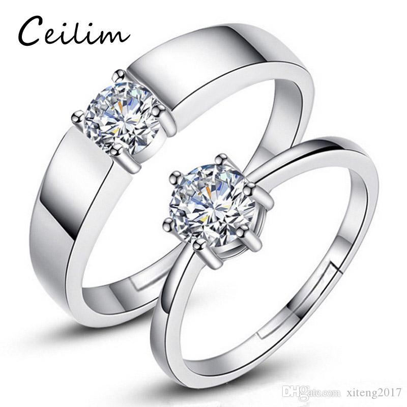 8a2a9d8f1fa 2019 Fashion Copper Simple Luxury Women   Mens Engagement Jewelry AAA  Zircon Female Wedding Finger Romantic Couple Ring Minimalist Mens Rings  From ...